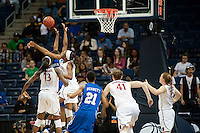 NORFOLK, VA--Nneka Ogwumike denies a shot attempt during first round play against Hampton University at the Ted Constant Convocation Center at Old Dominion University in Norfolk, VA in the 2012 NCAA Championships. The Cardinal advanced with a 73-51 win to play West Virginia on Monday, March 19.