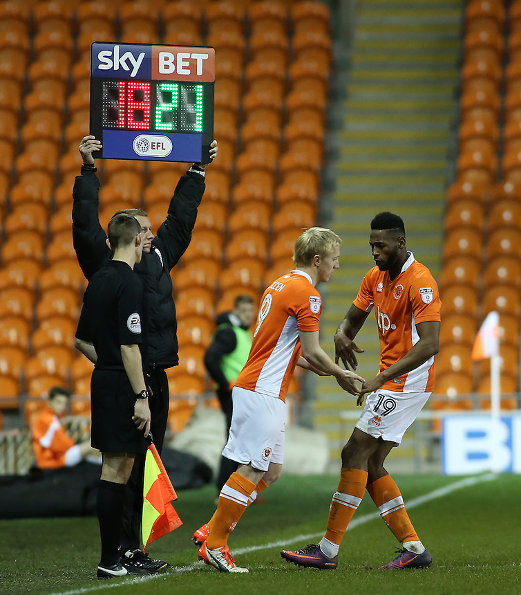Blackpool's Mark Cullen comes on to replace Jamille Matt<br /> <br /> Photographer David Shipman/CameraSport<br /> <br /> The EFL Sky Bet League Two - Blackpool v Luton Town - Saturday 17th December 2016 - Bloomfield Road - Blackpool<br /> <br /> World Copyright &copy; 2016 CameraSport. All rights reserved. 43 Linden Ave. Countesthorpe. Leicester. England. LE8 5PG - Tel: +44 (0) 116 277 4147 - admin@camerasport.com - www.camerasport.com