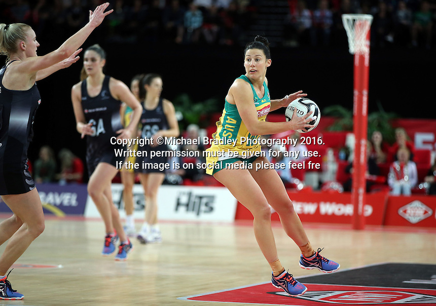 15.10.2016 Australia's Madi Robinson in action during the Silver Ferns v Australia netball test match played at Vector Arena in Auckland. Mandatory Photo Credit ©Michael Bradley.