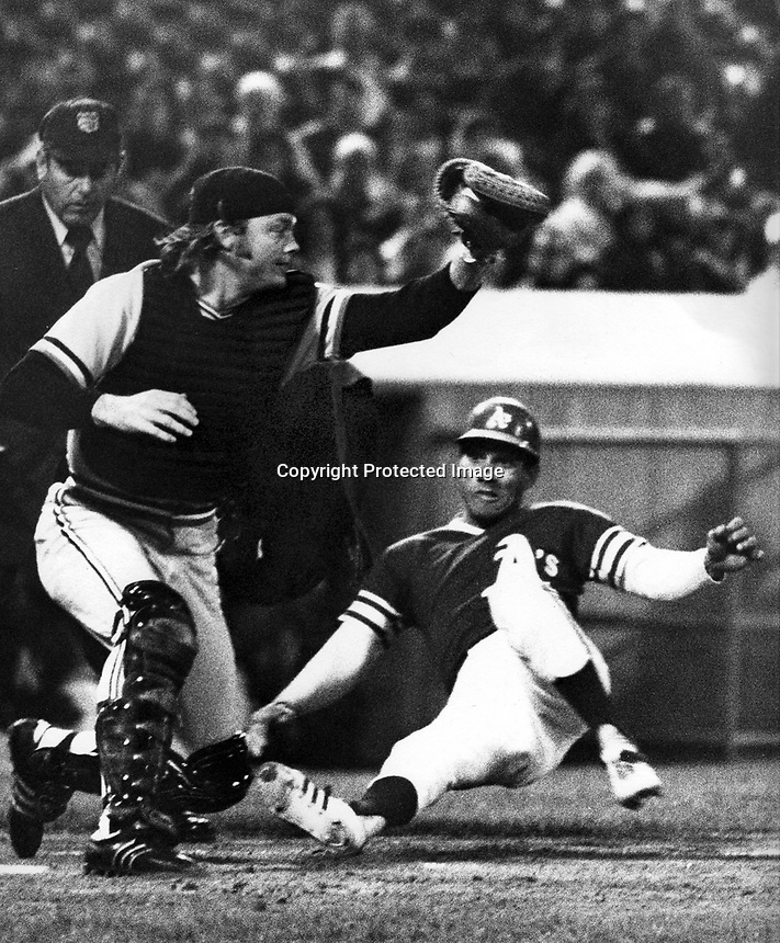 "Oakland Athletics Bert ""Campy"" Campaneris slides safely into home, catcher Dave Duncan with the throw. (photo/Ron Riesterer)"