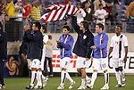 20 March 2008: U.S. players celebrate after the game. From left: Patrick Ianni (USA) (4), Sal Zizzo (USA) (8), Sacha Kljestan (USA) (16), Hunter Freeman (USA) (13), and Robbie Findley (USA) (14). The United States U-23 Men's National Team defeated the Canada U-23 Men's National Team 3-0 at LP Field in Nashville,TN in a semifinal game during the 2008 CONCACAF Men's Olympic Qualifying Tournament. With the victory, the United States qualified for the 2008 Beijing Olympics.