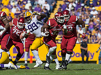 NWA Democrat-Gazette/BEN GOFF @NWABENGOFF<br /> David Williams, Arkansas running back, carries in the third quarter Saturday, Nov. 11, 2017 at Tiger Stadium in Baton Rouge, La.