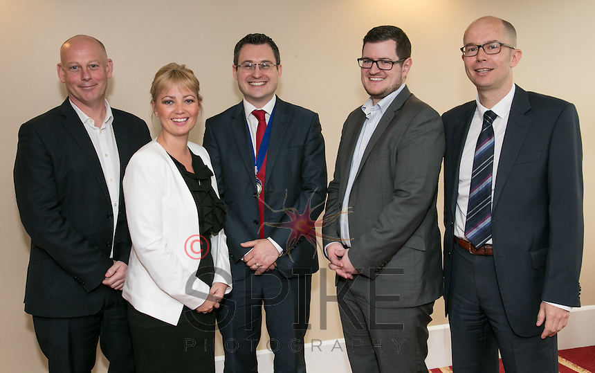 Pictured at Nottingham City Business Club is club president Nic Elliott of Actons (centre)  with speakers Ian Roberts (left) and Tim Hatton (rright) from Notts County Football Club and Christine Yardley and Matt Coleman (second right) from club sponsors Actons