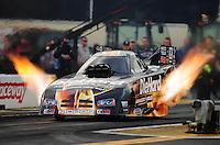 Sept. 30, 2011; Mohnton, PA, USA: NHRA funny car driver Matt Hagan during qualifying for the Auto Plus Nationals at Maple Grove Raceway. Mandatory Credit: Mark J. Rebilas-