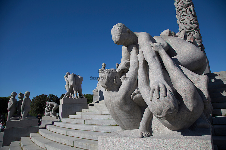Oslo, Norway, Europe.  The Vigeland Park is the world's largest sculpture park made by a single artist, and is one of Norway's most popular tourist attractions.
