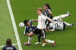 30 June 2006: Per Mertesacker (GER) (17) positions himself to play the ball while players are down inside the penalty area. Germany tied Argentina 1-1 at the Olympiastadion in Berlin, Germany in match 57, a Quarterfinal game in the 2006 FIFA World Cup. Germany advanced on Penalty Kicks, 4-2.