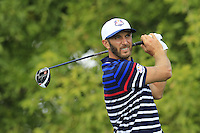 Dustin Johnson US Team tees off the 10th tee during Thursday's Practice Day of the 41st RyderCup held at Hazeltine National Golf Club, Chaska, Minnesota, USA. 29th September 2016.<br /> Picture: Eoin Clarke | Golffile<br /> <br /> <br /> All photos usage must carry mandatory copyright credit (&copy; Golffile | Eoin Clarke)