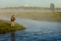 Fisherman, Williamson River on Timmerman Ranch, Mount Scott, Oregon.  June.