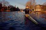 Rowing, Seattle, male rower in the Montlake Cut, single racing shell, model released, Washington State, Pacific Northwest.
