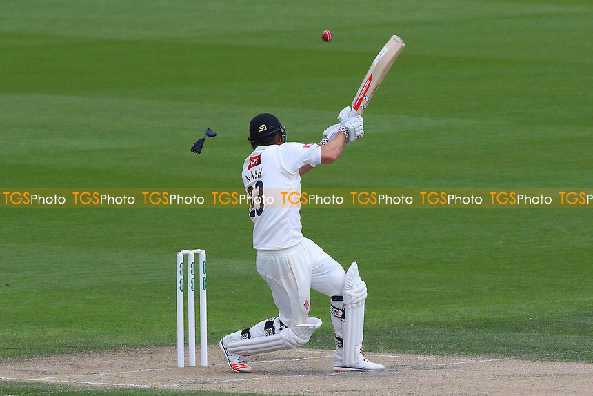 Chris Nash of Sussex is struck on the head by a Jamie Porter delivery, damaging his helmet during Sussex CCC vs Essex CCC, Specsavers County Championship Division 2 Cricket at The 1st Central County Ground on 19th April 2016