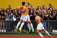 London, UK on Sunday 31st August, 2014. The Janoskians football team celebrate scoring a goal during the Soccer Six charity celebrity football tournament at Mile End Stadium, London.