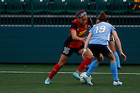 Rochester, NY - Saturday May 21, 2016: Western New York Flash defender Jaelene Hinkle (15) is defended by Sky Blue FC defender Kelley O'Hara (19). The Western New York Flash defeated Sky Blue FC 5-2 during a regular season National Women's Soccer League (NWSL) match at Sahlen's Stadium.