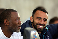 Leon Britton of Swansea in the dug out during the Swansea Legends v Manchester United Legends at The Liberty Stadium, Swansea, Wales, UK. Wednesday 09 August 2017