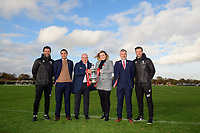 From left, Lincoln City manager Danny Cowley, Lincoln City's chief executive Liam Scully, The Football Association's director of professional game relations, Andy Ambler, Soper of Lincoln's marketing executive Jess Hall, Lincoln City's vice-chairman Roger Bates and Lincoln City's assistant manager Nicky Cowley outside Lincoln City's new Elite Performance Centre<br /> <br /> Photographer Chris Vaughan/CameraSport<br /> <br /> The official opening of Lincoln City's new Elite Performance Centre - Wednesday 7th November 2018 - Scampton, Lincolnshire<br /> <br /> World Copyright © 2018 CameraSport. All rights reserved. 43 Linden Ave. Countesthorpe. Leicester. England. LE8 5PG - Tel: +44 (0) 116 277 4147 - admin@camerasport.com - www.camerasport.com