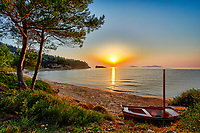 The sunrise at the beach Chrisi Milia of Alonissos island, Greece