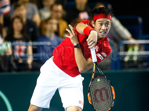 06.03.2016. Barclaycard Arena, Birmingham, England. Davis Cup Tennis World Group First Round. Great Britain versus Japan. Japan's Kei Nishikori serves during his singles match against Great Britain's Andy Murray on day 3 of the tie.