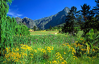 South Africa, near Cape Town, Winelands Franschhoek valley with Groot Drakenstein Mountains