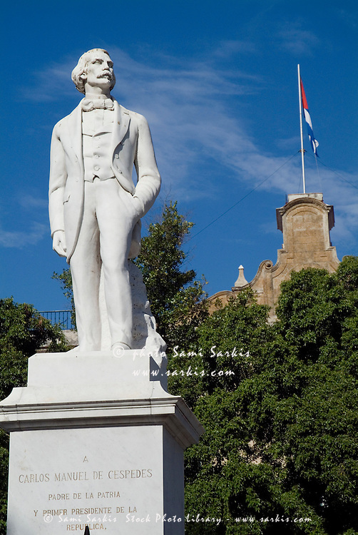 Statue of Carlos Manuel de Cespedes, the first President of Cuba, in the Plaza de Armas square, Havana, Cuba.