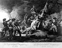 The Death of General Montgomery at Quebec.  1775. Copy of engraving by W. Ketterlinus after John Trumbull, published 1808.  (George Washington Bicentennial Commision)<br />Exact Date Shot Unknown<br />NARA FILE #:  148-GW-459<br />WAR & CONFLICT #:  17