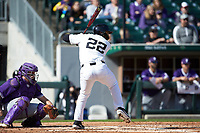 Michael Ludowig (22) of the Wake Forest Demon Deacons at bat against the Furman Paladins at BB&T BallPark on March 2, 2019 in Charlotte, North Carolina. The Demon Deacons defeated the Paladins 13-7. (Brian Westerholt/Four Seam Images)