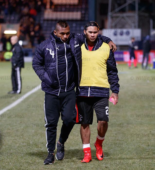 Alfredo Morelos and Carlos Peña at full time