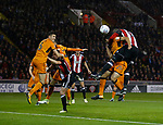 Leon Clarke of Sheffield Utd rises highest to score the second goal during the Championship match at the Bramall Lane Stadium, Sheffield. Picture date 27th September 2017. Picture credit should read: Simon Bellis/Sportimage