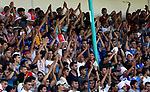 Fans of Shabab Rafah football club celebrate their team's victory against Hebron's Ahly al-Khalil football club in the first leg of the Palestine Cup final at the Yarmouk Stadium in Gaza City on August 1, 2017. Photo by Ashraf Amra