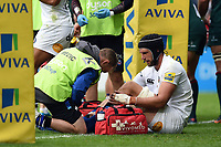 Luke Charteris of Bath Rugby is treated for an injury. Aviva Premiership match, between Leicester Tigers and Bath Rugby on September 3, 2017 at Welford Road in Leicester, England. Photo by: Patrick Khachfe / Onside Images