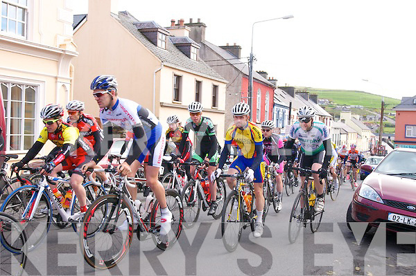 A group of cyclists during the Kerry Group Ras Mumhan Stage 2 cycling race on the streets of Dingle on Saturday noon...