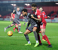 Lincoln City's Matt Green shields the ball from Accrington Stanley's Ben Richards-Everton<br /> <br /> Photographer Andrew Vaughan/CameraSport<br /> <br /> The EFL Checkatrade Trophy Second Round - Accrington Stanley v Lincoln City - Crown Ground - Accrington<br />  <br /> World Copyright © 2018 CameraSport. All rights reserved. 43 Linden Ave. Countesthorpe. Leicester. England. LE8 5PG - Tel: +44 (0) 116 277 4147 - admin@camerasport.com - www.camerasport.com