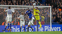 Goalkeeper Oleksandr Shovkovskiy of Dynamo Kiev (Dynamo Kyiv) pulls off a save from Kurt Zouma of Chelsea during the UEFA Champions League Group G match between Chelsea and Dynamo Kyiv at Stamford Bridge, London, England on 4 November 2015. Photo by Andy Rowland.