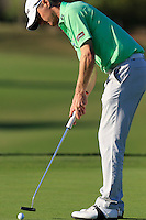 Michael Hoey (NIR) takes his putt on the 7th green during Thursday's Round 1 of the 2016 Portugal Masters held at the Oceanico Victoria Golf Course, Vilamoura, Algarve, Portugal. 19th October 2016.<br /> Picture: Eoin Clarke   Golffile<br /> <br /> <br /> All photos usage must carry mandatory copyright credit (© Golffile   Eoin Clarke)