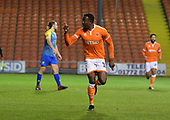 18/12/18 The Emirates FA Cup, 2nd Round Replay Blackpool v Solihull Moor<br /> <br /> Joe Dodoo celebrates after scoring Blackpool's second goal