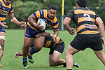 Richard Taupaki looks to break free from Mitchell Thackhams tackle. Premier Counties Power Club Rugby Round 3, Counties Power Game of the Week, between Patumahoe and Bombay, played at Patumahoe on Saturday March 24th 2018. <br /> Photo by Richard Spranger.<br /> <br /> Patumahoe Counties Power Cup Holders won the game 26 - 23 after trailing 7 - 23 at halftime.<br /> Patumahoe 26 - Penalty try, Richard Taupaki, Theodore Solipo, Craig Jones tries; Riley Hohepa 2 conversions. <br /> Bombay 23 - Shaun Muir, Jordan Goldsmith, Liam Daniela, tries; Tim Cossens conversion; Tim Cossens 2 penalties.