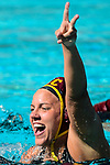 LOS ANGELES, CA - MAY 13: Verica Bakoc #17 of the University of Southern California celebrates following the Division I Women's Water Polo Championship held at the Uytengsu Aquatics Center on the USC campus on May 13, 2018 in Los Angeles, California. USC defeated Stanford 5-4. (Photo by Tim Nwachukwu/NCAA Photos via Getty Images)