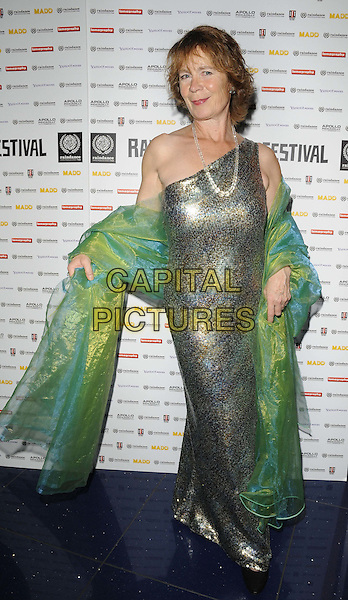 "Celia Imrie .attended the ""Act Of Godfrey"" UK film premiere, Apollo Piccadilly Circus cinema, London, England, UK, 30th September 2011..full length one shoulder green wrap shawl dress long maxi  gold shiny sequined sequin.CAP/CAN.©Can Nguyen/Capital Pictures."