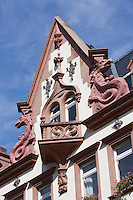 Europe/Allemagne/Bade-Würrtemberg/Heidelberg: Détail façade maison baroque sur la Hauptstrasse