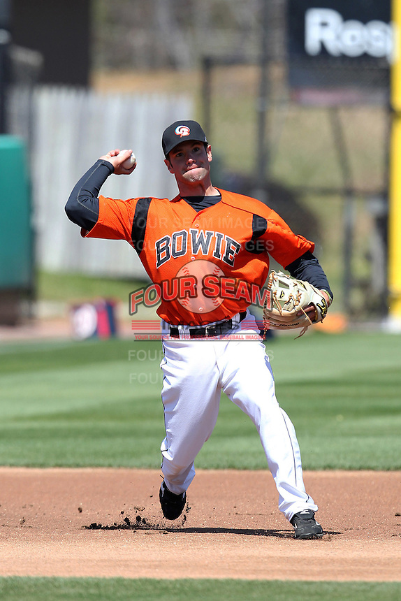 Bowie BaySox third baseman Travis Adair #2 during practice before a game against the Harrisburg Senators at Prince George's Stadium on April 8, 2012 in Bowie, Maryland.  Harrisburg defeated Bowie 5-2.  (Mike Janes/Four Seam Images)