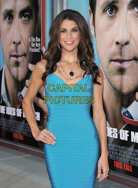 Samantha Harris.The L.A. Premiere of 'The Ides of March' held at The Academy of Motion Picture Arts & Sciences  in Beverly Hills, California, USA..September 27th, 2011.half length blue turquoise dress hand on hip.CAP/RKE/DVS.©DVS/RockinExposures/Capital Pictures.