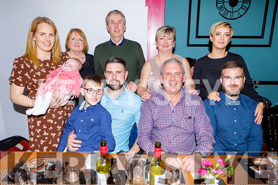 BIRTHDAY GREETINGS: David Fitzgerald, Abbeydorney celebrated his 30th birthday on Saturday in Croi restaurant, Tralee with seated l-r: Adam, David and Maurice Fitzgerald with Ross Carey. Back l-r: Julie and Emily Fitzgerald, Angela and John Dennehy with Annette and Niamh Fitzgerald.