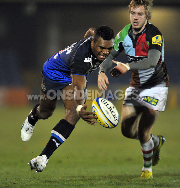 Semesa Rokoduguni loses control of the ball. Aviva A-League match, between Bath United and Harlequins A on November 5, 2012 at the Recreation Ground in Bath, England. Photo by: Patrick Khachfe / Onside Images