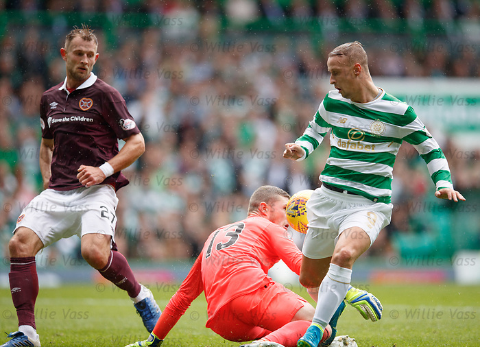 Leigh Griffiths shot rebounds off keeper Jack Hamilton as he gets a second chance to score the opening goal for Celtic