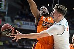 Real Madrid Luka Doncic and Valencia Basket Will Thomas during Liga Endesa match between Real Madrid and Valencia Basket at Wizink Center in Madrid , Spain. March 25, 2018. (ALTERPHOTOS/Borja B.Hojas)