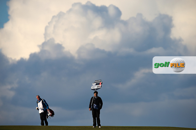 Large clouds on the horizon down the last during R3 at Kingsbarns of the 2014 Alfred Dunhill Links Championship, The Old Course, St Andrews, Fife, Scotland. Picture:  David Lloyd / www.golffile.ie