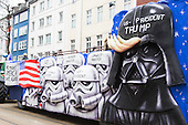Düsseldorf, Germany. 27 February 2017. Donald Trump depicted as Darth Vader with Stormtroopers. Carnival parade on Shrove Monday (Rosenmontag) in Düsseldorf, North Rhine-Westphalia, Germany.