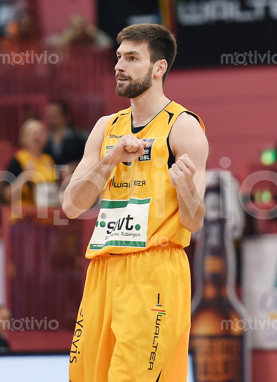 BEKO Basketball 1. Bundesliga 2014/2015  8. Spieltag Walter Tigers Tuebingen - ratiopharm Ulm        09.11.2014 JUBEL Branislav Ratkovica (Tigers)