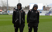 Blackpool players inspect the pitch as they arrive <br /> <br /> Photographer Ian Cook/CameraSport<br /> <br /> The EFL Sky Bet League One - Bristol Rovers v Blackpool - Saturday 15th February 2020 - Memorial Stadium - Bristol<br /> <br /> World Copyright © 2020 CameraSport. All rights reserved. 43 Linden Ave. Countesthorpe. Leicester. England. LE8 5PG - Tel: +44 (0) 116 277 4147 - admin@camerasport.com - www.camerasport.com