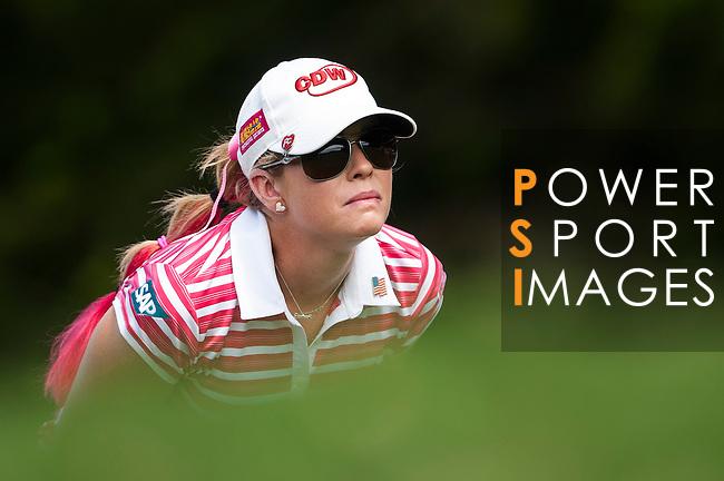 TAOYUAN, TAIWAN - OCTOBER 28:  Paula Creamer of USA tees off on the 2nd hole during the day four of the Sunrise LPGA Taiwan Championship at the Sunrise Golf Course on October 28, 2012 in Taoyuan, Taiwan.  Photo by Victor Fraile / The Power of Sport Images