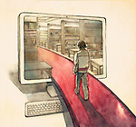 Rear view of a man walking down the red lane into the computer monitor depicting concept of online education