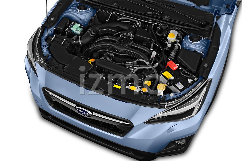 Car stock 2018 Subaru XV Premium 5 Door SUV engine high angle detail view